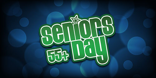 Event flyer for Mondays: Seniors Day 55+